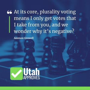 """Quote with an image of a chess board: """"At its core, plurality voting means I only get votes that I take from you, and we wonder why it's negative?"""""""